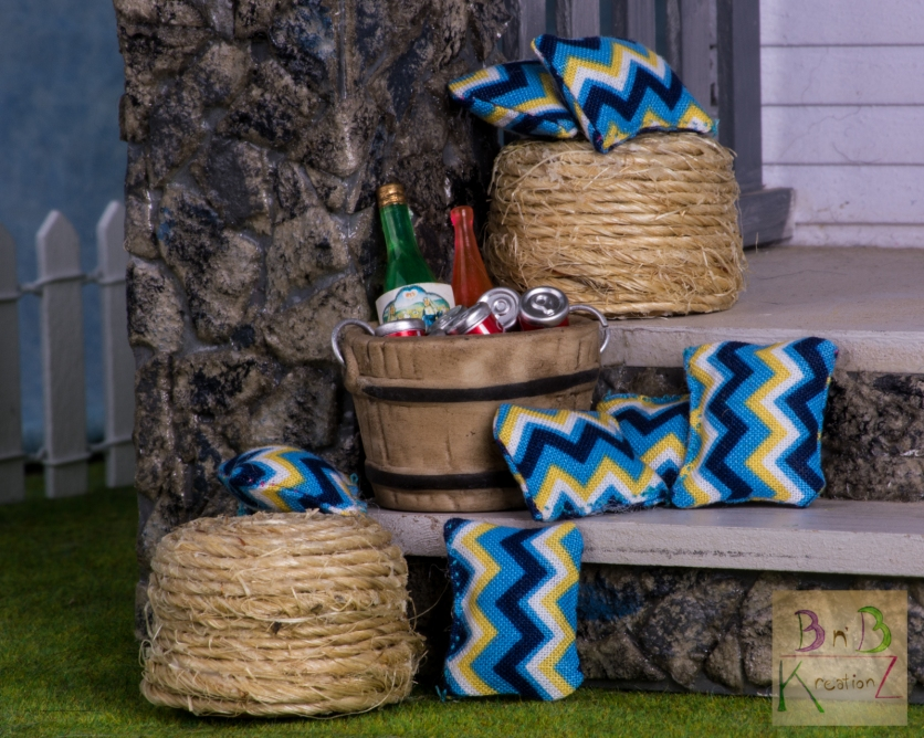A shot of some stools and pillows I had made on the porch.
