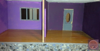 The bottom two rooms prior to being glittered
