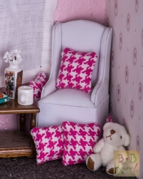Mini Pillows (Pink Houndstooth)-1667